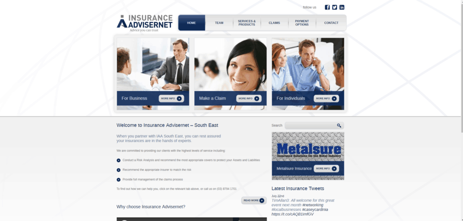 Insurance Advisernet Australia South East desktop
