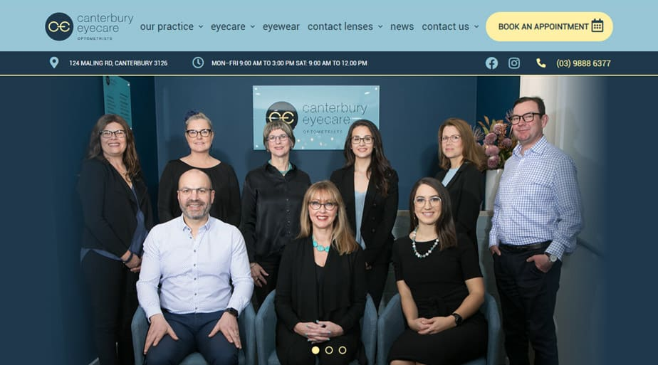 Canterbury Eyecare - Responsive Website for Optometrists